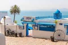 Известное кафе в Sidi Bou сказало, Тунис, Африка стоковое фото