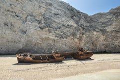 Известное кораблекрушение на пляже Navagio стоковые фото