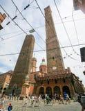 Известные 2 башни, символ болонья, Италии Стоковые Изображения RF