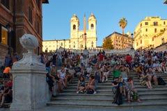 Известные испанские шаги в Рим на заходе солнца Стоковое фото RF