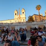 Известные испанские шаги в Рим на заходе солнца Стоковые Изображения