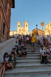 Известные испанские шаги в Рим на заходе солнца Стоковая Фотография RF