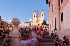 Известные испанские шаги в Рим на заходе солнца Стоковые Изображения RF