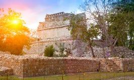 Известные руины пирамиды на археологических раскопках Kabah Майя Chichen Itza в Юкатане, Мексике Стоковое Изображение RF