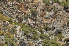 Известные усыпальницы Lycian старого города Caunos, Dalyan, Турции Стоковое Фото