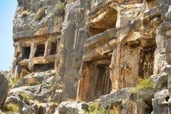 Известные усыпальницы Lycian старого города Caunos, Dalyan, Турции Стоковое Изображение RF