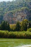 Известные усыпальницы Lycian старого города Caunos, Dalyan, Турции Стоковая Фотография RF