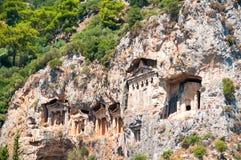 Известные усыпальницы Lycian старого города Caunos, Dalyan, Турции Стоковое Изображение