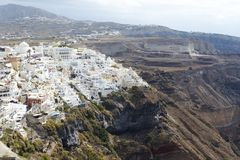 Известный взгляд над деревней Oia на острове Santorini, Греции Стоковое фото RF