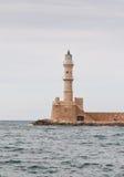 Известный маяк Chania в острове Крита Греции стоковые фотографии rf