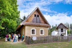 Известный под открытым небом музей фольклорной архитектуры в городке Straznice, южной Моравии, чехии Комплекс защищен как сельско стоковое изображение