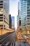 Известный поезд Чикаго приезжает Стоковые Фотографии RF