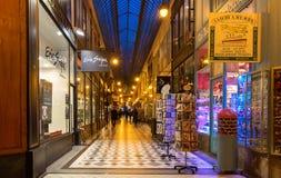 Известный проход Jouffroy в выравниваясь Париже, Франции Стоковые Фото