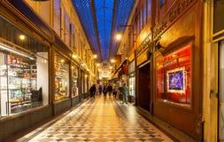 Известный проход Jouffroy в выравниваясь Париже, Франции Стоковая Фотография RF