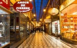Известный проход Jouffroy в выравниваясь Париже, Франции Стоковое фото RF