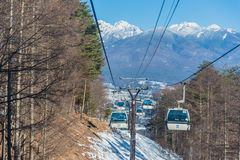 Известный путь кабеля, лыжный район Nagano Япония Стоковое Изображение