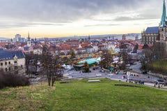 Известный рынок christkindl в Эрфурте, Германии Стоковые Изображения