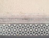 Известный тротуар мозаики в пляже Leblon, Рио-де-Жанейро стоковое изображение rf