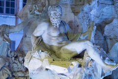 Известный фонтан на квадрате Navona в Риме - фонтан 4 рек стоковые изображения rf