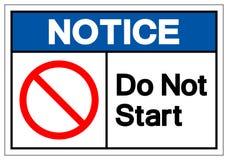 Извещение делает не знак символа начала, иллюстрацию вектора, изолят на белом ярлыке предпосылки EPS10 иллюстрация штока