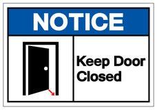 Извещение держит знак символа двери закрытый, иллюстрацию вектора, из иллюстрация штока