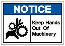 Извещение держит руки из знака символа машинного оборудования, иллюстрации вектора, изолята на белом ярлыке предпосылки EPS10 иллюстрация штока