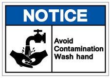 Извещение избегает знака символа руки мытья загрязнения, иллюстрации вектора, изолята на белом ярлыке предпосылки EPS10 иллюстрация штока