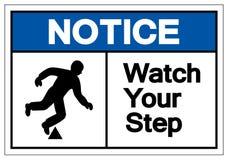 Извещение наблюдает ваш знак символа шага, иллюстрацию вектора, изоля иллюстрация вектора