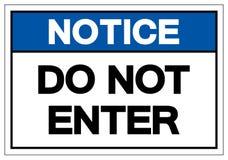Извещение не вписывает знак символа, иллюстрацию вектора, изолят на бе иллюстрация вектора