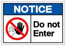 Извещение не вписывает знак символа, иллюстрацию вектора, изолят на бе иллюстрация штока