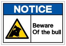 Извещение остерегается знака символа Bull, иллюстрации вектора, изолята иллюстрация вектора