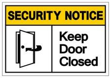 Извещение о безопасностью держит знак символа двери закрытый, иллюстрацию вектора, изолированную на белом ярлыке предпосылки EPS1 бесплатная иллюстрация
