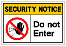 Извещение о безопасностью не вписывает знак символа, иллюстрацию вектора, изолят на белом ярлыке предпосылки EPS10 иллюстрация вектора