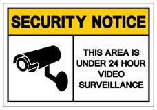 Извещение о безопасностью эта область под 24 знаками символа наблюдения часа видео-, иллюстрацией вектора, изолятом на белом ярлы иллюстрация штока