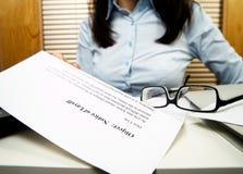 извещение о временного увольнения стоковая фотография