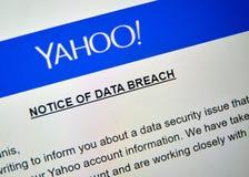 Извещение о Yahoo пролома данных стоковые изображения rf