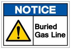 Извещение похоронило знак символа газопровода, иллюстрация вектора, изолят на белом ярлыке предпосылки EPS10 бесплатная иллюстрация