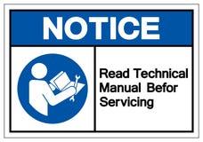 Извещение прочитало техническое руководство перед обслуживать знак символа, иллюстрацию вектора, изолят на белом ярлыке предпосыл иллюстрация штока