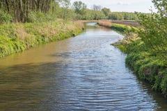 Извиваясь поток в голландском ландшафте Стоковое Фото