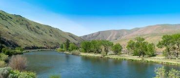 Извиваясь река через высокую пустыню под голубыми небесами лета Стоковое Изображение RF