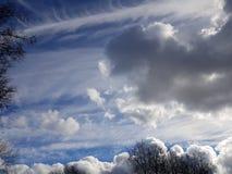 Извив и столкновение воздушных масс в голубом небе за treetops стоковая фотография rf