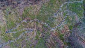 Извилистая дорога вида с воздуха около ущелья Masca видеоматериал