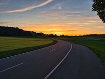 Извилистая дорога во время золотого часа стоковое изображение rf