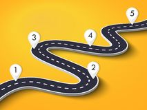 Извилистая дорога на красочной предпосылке Шаблон положения пути дороги infographic с указателем штыря иллюстрация штока