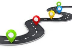 Извилистая дорога с красочным указателем Pin перевод 3d Стоковые Изображения