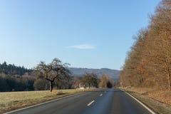 Изгибать дорогу между полями и деревьями в Германии Langgöns в зиме стоковые фотографии rf