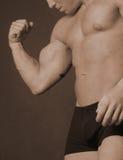 изгибать его мышцу стоковые фотографии rf