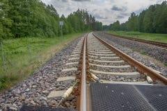 Изгибать железнодорожный путь через лес стоковые изображения rf