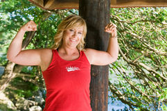 изгибать женщину мышц Стоковое Фото