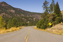Изгибать шоссе и знак Стоковая Фотография